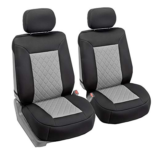 Best Jeep Seat Covers At Amazon FH Group FB088102 Neosupreme Car Seat Cushion Deluxe Quality, Water Resistant, Non-Slip Backing, Easy Installation, Gray/Black Color - Fit Most Car, Truck, SUV, or Van