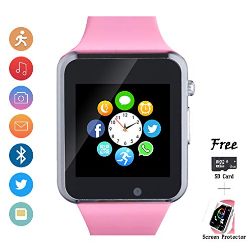 Watch That Can Send Text Messages. Smartwatch, Smart Watch with SIM Card Slot Text Call Reminder Camera Music Player Pedometer Compatible with Android Samsung and iPhone(Partial Functions) for Men Women Kids