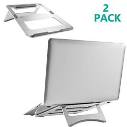 Laptop Notebook Stand Riser Ergonomic Portable Foldable Ventilated Holder for Laptop, Notebook, MacBook Air Pro, iPad, and Other Tablets up to 15 Inch (FLT001-2), 2 Pack, Silver by WALI