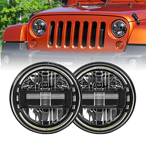 "Jeep Wrangler With LED Headlights, LED Headlight for Jeep Wrangler COWONE 7"" inch Round LED Headlamp with Daytime Running Light DRL High Low Beam for Jeep Wrangler JK TJ LJ Hummber H1 H2"