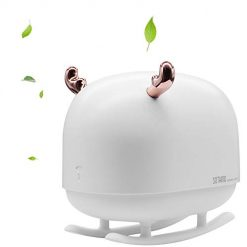 Deer Mini USB Humidifier, Cool Mist Humidifier for Bedroom Kid, Personal Small Humidifier with Warm White Night Light