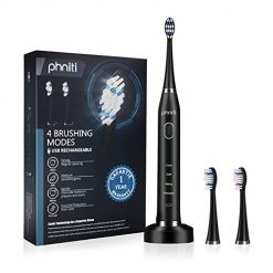 Sonic Electric Toothbrush for Adults with Wireless Charging Base,2 Replacement Brush Heads by Phniti,Black