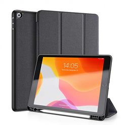 "iPad 10.2 Case 2019 with Pencil Holder, Herize New iPad 7th Generation 10.2"" 2019 Case with Auto Sleep/Wake Feature, Lightweight Smart Cover with Soft TPU Back for iPad 10.2 inch 7th Generation Black"