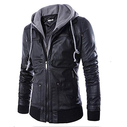 Littleice Men Microfiber Leather Hooded Jacket Autumn&Winter Long Sleeve Biker Motorcycle Zipper Outwear Warm Coat (XL)