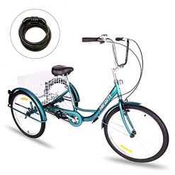 Best Adult 3 Wheel Bike At Amazon. Hiram Adult Tricycle Trike Cruise Bike Three-Wheeled Bicycle with Large Size Basket for Recreation, Shopping, Exercise Men's Women's Bike (24inch/Midnight Green)