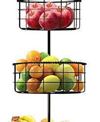 Best Fruit Bowls On Amazon. Sorbus Countertop Fruit Basket Holder & Decorative Tabletop Bowl Stand -Also Perfect for Vegetables, Snacks, Household Items, 3 Tier Black