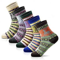 Women Fashion Socks Thick Wool Casual Socks Vintage Colorful Cute Knit Socks (Multicolor-Fawn)