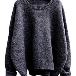 futurino Women's Crew Neck Solid Long Drop Sleeves Loose Knit Pullover Sweaters Dark Grey