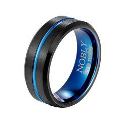 Nobly Tungsten Carbide Rings 8mm Black and Blue Concave for Men Size 7-13