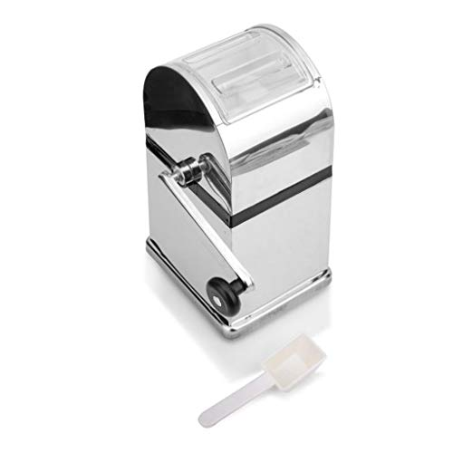 Personal Slush Machine. Stainless Steel Ice Crushers Mini Ice shavers Chopper Manual Snow Cone Smoothie Maker Ice Block Breaking Machine slush machine (Color : Silver, Size : 15.512.526.5cm)