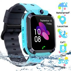 Android Watches That Can Text, Kids Waterproof Smart Watch Phone, SZBXD LBS/GPS Tracker Touchscreen Smartwatch Games SOS Alarm Clock Camera Smart Watch Christmas Birthday Gifts for School Boy Girls (Blue)
