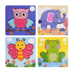 Wooden Jigsaw Puzzles for Toddlers, XREXS Bright Color Animal Shapes Puzzles Educational Learning Toys Gift for Babies Boys Girls 4 Packs