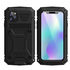 iPhone 11 Pro Max Metal Military Heavy Duty case, HATA iPhone 11 Pro Max Rugged Drop Tested Case with Built-in Screen Protector Kickstand Waterproof Sturdy Full Body Cover (Black, iPhone 11 Pro Max)