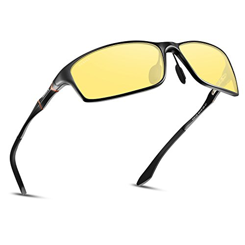 Best Drivers Glasses At Amazon, Polarized Night Driving Glasses Anti Glare Safety HD Night Vision Sunglasses (Black Frame05, Yellow)
