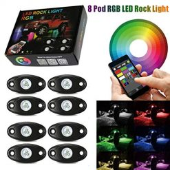 Best Brightest Rock Lights At Amazon, 8 Pod Rgb Led Rock Lights Kits with Bluetooth Control Waterproof Neon Lights for Cars Jeep Off Road Truck SUV ATV (8 Pods)
