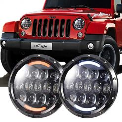 Best LED Headlight Jeep JK At Amazon, LX-LIGHT Extreme Bright 105W Osram Chips Headlights with White DRL/Amber Turn Signal DRL for Jeep Wrangler Jk LJ TJ CJ HUMMER H1 H2 Land Rover Defender