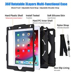 GROLEOA iPad Mini 4/5 Case, Three Layer Hybrid Drop Protection Case with [360 Rotating Stand] Hand Strap Shoulder Strap&[Stylus Pencil Holder] for iPad Mini 5th/4th Generation 7.9 inch (Black) 1