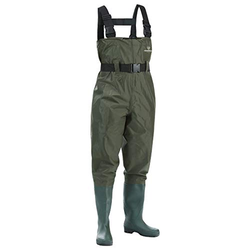 FISHINGSIR Chest Fishing Waders Hunting Bootfoot with Wading Belt Waterproof Insulated Breathable Nylon and PVC Cleated Wading Boots for Men Women Size 7