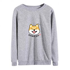 Morecome Women Winter Shiba Inu Printing Round Neck Long Sleeve Loose Casual Blouse Sweatshirt Cute Top Gray