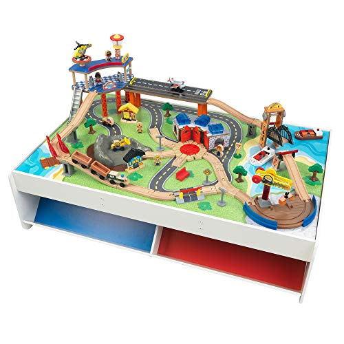 Train Set With Table On Amazon.KidKraft Railway Express Wooden Train Set & Table with 79Piece; Two Storage Bins