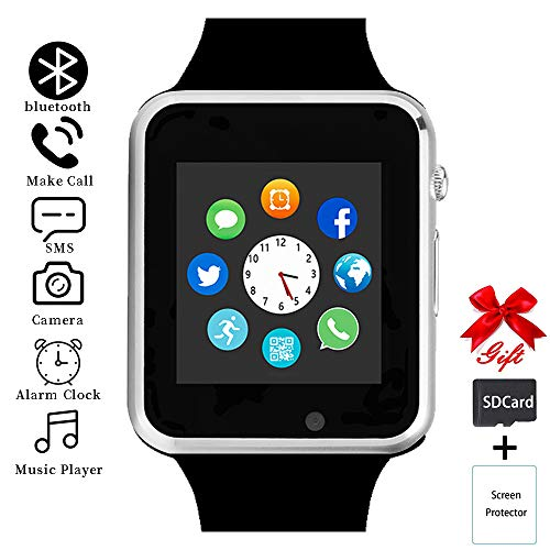 aimion Smart Watch,Touchscreen Smart Wrist Watch Call Text Camera Music Player Notification Sync SIM/SD Card Slot Smartwatch Compatible with Bluetooth/Android/iOS Women Men Kids(Mysterious Silver)