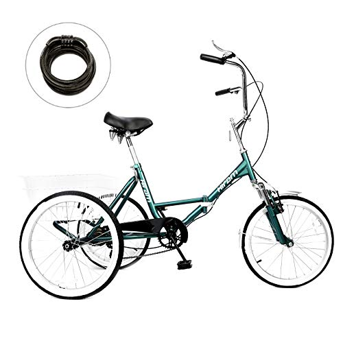 3 Wheeler Bicycle At Amazon. HIRAM Adult Tricycle Trike Cruise Bike Three-Wheeled Bicycle with Large Size Basket for Recreation, Shopping, Exercise Men's Women's Bike (20inch/Midnight Green)