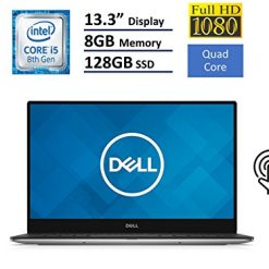 Best Laptop For Computer Engineering students At Amazon, Dell XPS 13 9360 Laptop (13.3' InfinityEdge TouchScreen FHD (1920x1080), Intel 8th Gen Quad-Core i5-8250U, 128GB M.2 SSD, 8GB RAM, Backlit Keyboard, Windows 10)- Silver (Renewed)