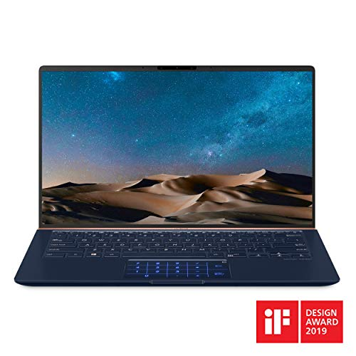 "Best Easy To Use Laptops For Senior Citizens, ASUS ZenBook 14 Ultra-Slim Laptop 14"" Full HD 4-Way NanoEdge Bezel, 8th-Gen Intel Core i7-8565U Processor, 16GB LPDDR3, 512GB PCIe SSD, MX150, Numberpad, Windows 10 - UX433FN-IH74, Royal Blue"