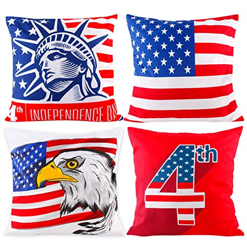 Independence Day Pillow Covers - Pack of 4 Throw Pillow Cushion Cases | Pillow Covers Pillow Protectors 4th of July, Statue of Liberty Pattern with Hidden Zipper for Home Sofa Bedroom Car Decor