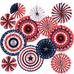 Sale Independence Day At Amazon, 4th of July Decorations Paper Fan for Patriotic Decorations Veterans Day Party, Independence Day Party Supplies