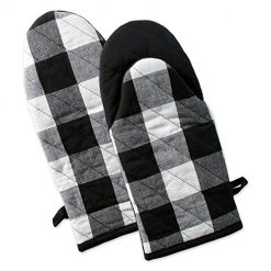 "Best Discount Amazon Site, DII Buffalo Check Plaid Oven Mitts, Heat Resistant for Everyday Kitchen Cooking and Baking, Perfect for Holidays or Hostess & Housewarming Gifts (13x6"" - Set of 2), Black & White"