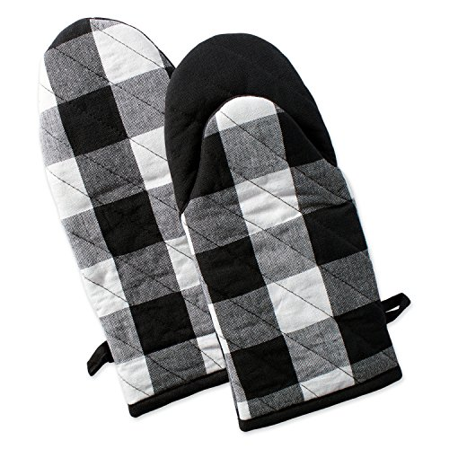 """Best Discount Amazon Site, DII Buffalo Check Plaid Oven Mitts, Heat Resistant for Everyday Kitchen Cooking and Baking, Perfect for Holidays or Hostess & Housewarming Gifts (13x6"""" - Set of 2), Black & White"""