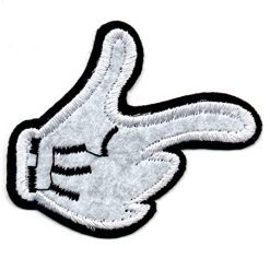Best Mickey Mouse Thumbs Up At Amazon, Patch Disney's Mickey Mouse Hand Black White Glove Mend Thumb Up Pouce Force Jacket Pant Vest Polo Sticker Hot Logo Motor Cycle New Badge Cartoon Embroidered Applique Iron On Sew On Bestdealhere (1)