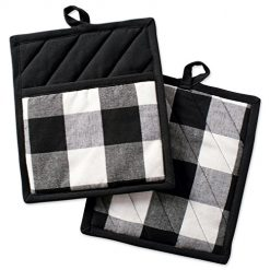 Amazon Coupons Discount  For DII Buffalo Check Plaid Pot Holders with Pocket, , Black & White, (Set of 2), 9