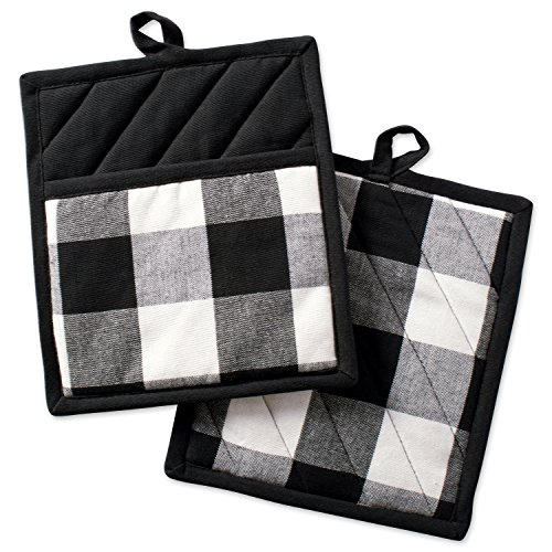 """Amazon Coupons Discount For DII Buffalo Check Plaid Pot Holders with Pocket, , Black & White, (Set of 2), 9"""" x 8""""DII Buffalo Check Plaid Pot Holders with Pocket, , Black & White, (Set of 2), 9"""" x 8"""""""