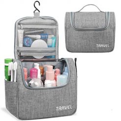 Coupon Discount For Amazon Deals Community, Hanging Toiletry Bag Travel Cosmetic Organizer Shower Bathroom Bag for Men Women Water-resistant (Light Grey)