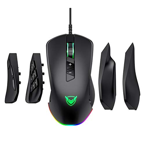 Best Gaming Mouse With 4 Buttons On The Side Under $30 At Amazon, PICTEK Gaming Mouse Wired, 24,000 DPI Optical Sensor-Chroma RGB Lighting, MMO Gaming Mice with 17 Programmable Buttons, 4 Interchangeable Side Plate 3/9 Buttons, Palm/Claw Grip Ergonomic for PC Gamer