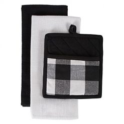 Amz Review DII CAMZ10891 Best Cotton Buffalo Check Plaid Gift Set, Machine Washable, Perfect for Everyday Kitchen Cooking and Baking, Dishtowel 18X28 and Potholder 8X9, Black and White 3 Pieces