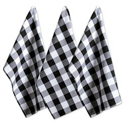 "Amazon Coupon Website DII Cotton Buffalo Check Plaid Dish Towels, (20x30"", Set of 3) Monogrammable Oversized Kitchen Towels for Drying, Cleaning, Cooking, & Baking - Black & White"