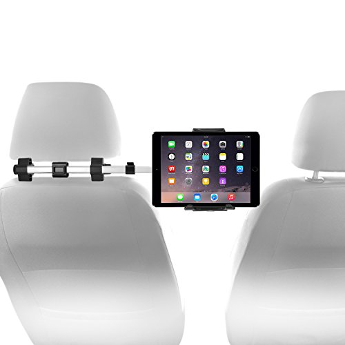 """Best Tablet For Car Movies At Amazon, Macally Car Headrest Mount Holder for Apple iPad Pro/Air/Mini, Tablets, Nintendo Switch, iPhone, Smartphones 4.5"""" to 10"""" Wide with Dual Adjustable Positions and 360° Rotation (HRMOUNTPRO)"""