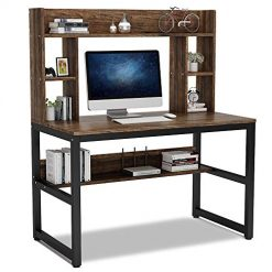 Tribesigns Computer Desk with Hutch, Modern Writing Desk with Storage Shelves, 47 Inches Office Desk Study Table Gaming Desk Workstation for Home Office, Vintage + Black Legs
