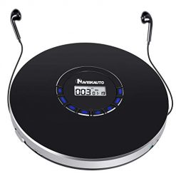 Portable CD Player for Car, Rechargeable Small CD Player, Compact Personal CD Player with LED Backlit Display, 12 Hours Playing Time, Anti-Skip, Shockproof and 3.5mm AUX Cable