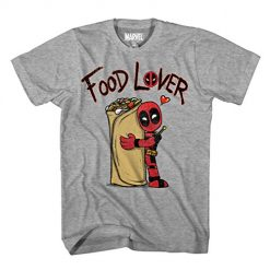 Marvel Deadpool Foodie Food Lover Burrito T-Shirt (Large, Grey Heather)