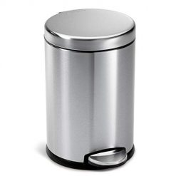 Stainless Steel Trash Can simplehuman 4.5 Liter / 1.2 Gallon Compact Round Bathroom, Brushed