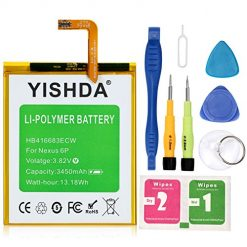 Nexus 6P Battery, YISHDA 3450mAh Replacement HB416683ECW Battery for Huawei Google Nexus 6P H1511 H1512 with Tools | Huawei Google Nexus 6P Battery Kit [18 Month Warranty]