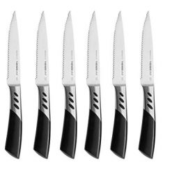 TRENDS 6 Pc Premium Steak Knife Set. Double Forged Carbon Steel. These steak knives are ultra-sharp and never require sharpening. Serrated steak knives set of 6, the best steak knives. Steak knifes.