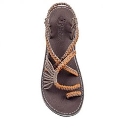 Plaka Flat Summer Sandals for Women Orange Gray 8 Palm Leaf