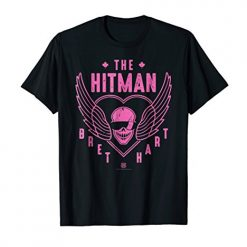 WWE The Hitman Bret Hart 1 Color Skull T-shirt