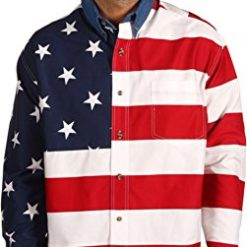Roper Men's Stars & Stripes Pieced Flag Shirt L/S Red X-Large