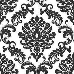 Black and White Wallpaper. Ariel Black and White Damask Peel and Stick Wallpaper